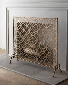 """Lexington Single-Panel Fireplace Screen ~ Handcrafted of Iron, Hinged Feet, Mesh Backing, 41""""W x 9.75""""D x 35""""T, and Hand-Painted Burnished-Gold Finish"""