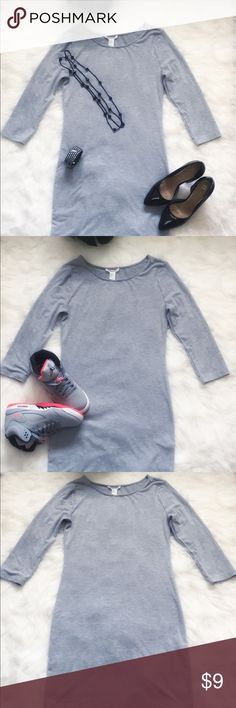 Forever 21 Grey Bodycon Dress with 3/4 Sleeves Only worn one! Dress it up or down. Bodycon..cotton and spandex. Dress has been inspected. No visible flaws. Measurement are in the pictures. Forever 21 Dresses