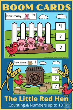 These Boom Cards are based on the story of The Little Red Hen.  The children need to count the number of objects and select the correct number from the three that are given.  This could story could fall into a Baker Theme, Bird theme or Farm Theme.  #treasuresforthematicteaching #boomcards #thelittleredhen #numeracy