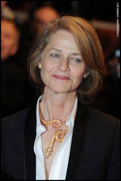 Charlotte Rampling in a Boucheron's Adam necklace. Cannes 2011