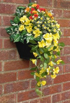 W/2 (greenwoods) new garden wall #artificial #hanging basket & #flowers ( yellow, View more on the LINK: http://www.zeppy.io/product/gb/2/291683548317/