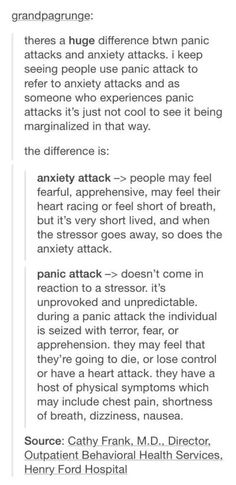 Anxiety vs. Panic attacks                                                                                                                                                                                 More
