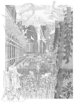 Intricate drawings by Bartlett School of Architecture graduate Anja Kempa present a vision for how spring could be recreated in Tokyo, once cherry trees fail to blossom because of climate change. Bartlett School Of Architecture, Architecture Collage, Architecture Board, Architecture Graphics, Architecture Drawings, Landscape Architecture, Architecture Design, Architecture Visualization, Layout Design