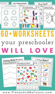 Free preschool worksheets 3 year old preschoolers will love! Free printable worksheets are always the best! preschool Free preschool worksheets in PDF format to print - Planes & Balloons 3 Year Old Preschool, Free Preschool, Preschool Printables, Preschool Kindergarten, Kindergarten Worksheets, Preschool Curriculum Free, Preschool Education, Preschool Readiness, Homeschool Worksheets