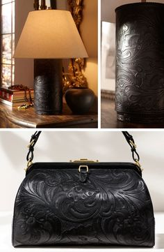 The decorative tooled-black leather of Ralph Lauren Home's Dakota Lamps was seen inspired by a Ralph Lauren's handbag.