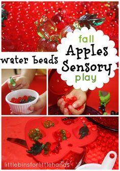 Water Beads & Apples Sensory Bin Play- Apples, Apples & More Apples