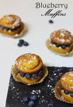 Muffins de Mirtilo com Mascarpone de Limão | Blueberry Muffins with Lemon Mascarpone