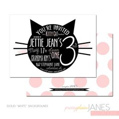 A fun and modern graphic invitation for your little ones kitty cat themed party! {THE GOODS} 5 x 7 invitation(s) customized with your