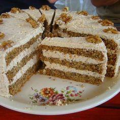 Diós torta III. Recept képpel - Mindmegette.hu - Receptek Hungarian Cake, Hungarian Recipes, Cake Recipes, Dessert Recipes, Desserts, Poppy Cake, Oreo Cupcakes, Almond Cakes, Cakes And More