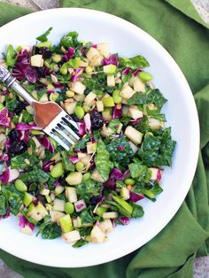 Super Duper Raw Power Salad  ( kale, red cabbage, dried cherries, sunflower seeds, edamame and other yummy healthy ingredients all with a maple sweetened salad dressing), I will half the red cabbage and add radicchio