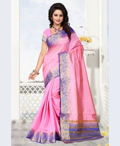 Pink Raw Silk Saree With Blouse 68216