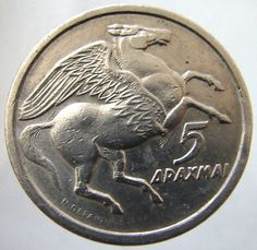 1973 GREECE PEGASUS COIN -beautiful! Greek History, Ancient History, Painting Words, Greek Art, World Coins, Rare Coins, Goods And Services, Pegasus, Ancient Egypt