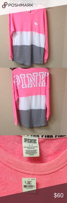 """Victoria's Secret PINK Varsity Tunic Sweatshirt Victoria's Secret PINK Tunic Sweatshirt in Women's Sz Small. It is oversized. Color:white/ pink/gray. Armpit to Armpit: 25"""". This is a hard to find item. Smoke Free and Pet Free Environment. PINK Victoria's Secret Tops Sweatshirts & Hoodies"""