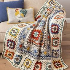 47 Blanket Knitting Patterns That Will Keep Your Mouth Open When You See - Stricken Motif Mandala Crochet, Crochet Square Patterns, Crochet Motifs, Crochet Granny, Crochet Blanket Patterns, Baby Knitting Patterns, Baby Blanket Crochet, Crochet Baby, Knit Crochet