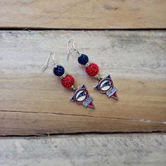 New England Patriots Earrings Crystal Pave Bead by TheBadaBling