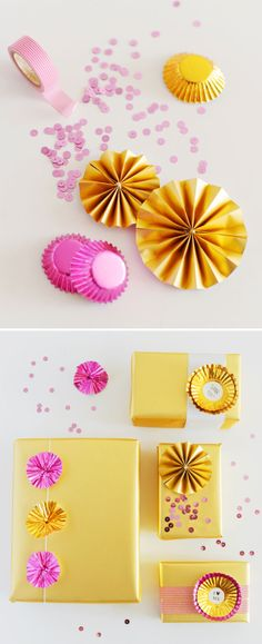 The FruFru: diy party Wrapping Ideas, Gift Wrapping, Craft Gifts, Diy Gifts, Silvester Party, Pretty Box, Pretty Packaging, Mellow Yellow, Neon Yellow
