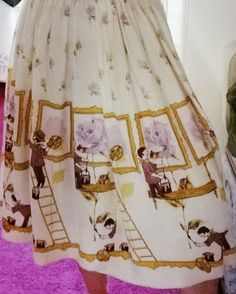 Novelty Print, Rose Dress, 1950s, Sewing, Skirts, Inspiration, Vintage, Dresses, Fashion