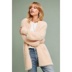 Knitted & Knotted Pocketed Eyelash Cardigan (€115) ❤ liked on Polyvore featuring tops, cardigans, peach, cardigan top, knot top, pocket cardigan, peach top and pocket tops