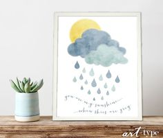 You are my sunshine when skies are grey watercolor typographic lullaby quote art DIY print This design would make a lovely DIY gift for a new baby or childs room:) :::::::::::::::::::::::::::::::::::::::::::::::::::::::::::  {DETAILS}  This listing is for an INSTANT DOWNLOAD, high res {300dpi} JPEG file of the artwork pictured. No watermark will appear on downloaded file.  ::: Size: 8x10 inches. If you would like another size, please contact me about custom sizing. ::: Format: JPEG {300dpi}…