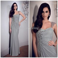 Wholesale Mother of the Bride Dresses - Buy 2014 Fashion Mother of the Bride Dress Straps Sheath Full Length Ruffles Open Back Sexy Prom Gowns Silver Evening Dress Plus Size Pageant, $130.68   DHgate