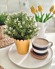 My Coffee, Coffee Time, Diy And Crafts, Planter Pots, Tableware, Instagram, Memoirs, Curtains, Good Morning
