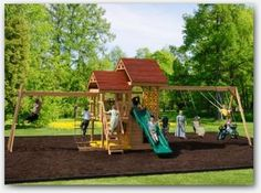 The Outdoor Oasis Wooden Swing Set. This big back yard wooden play set will be an oasis of fun for your grandchildren. Add a pitcher of lemonade and it is a true Oasis! Call today for a fast friendly quote. Wood Swing Sets, Wooden Playset, Lawn Furniture, Sandbox, Play Houses, Oasis, Tower, Backyard, Watch