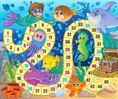 Board game image with underwater theme 2 - vector illustratie van Klara Viskova (clairev) - Stockfresh Sea Animals Drawings, Cartoon Sea Animals, Board Game Template, Printable Board Games, Imprimibles Toy Story Gratis, Board Games For Kids, Number Games, Games Images, School Themes