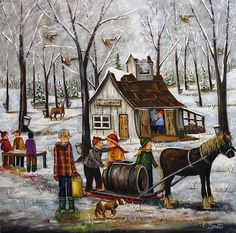 Farm Art, Primitive Folk Art, Fashion Painting, Country Art, Winter Art, Winter Photography, Book Crafts, Print Artist, Painting On Wood
