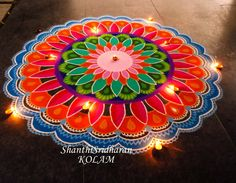 #mandala#pink#orange#green#blue##kolam#rangoli#circle