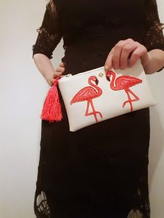 Your place to buy and sell all things handmade Deer Makeup, Makeup Pouch, Zipper Bags, Leather Pouch, Makeup Yourself, Flamingo, Clutches, My Etsy Shop, Water
