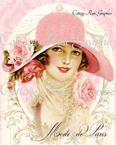 Mode de Paris Pink hat Paris French Fashion Roses Large digital download  BUY 3 get one FREE ecs svfteam