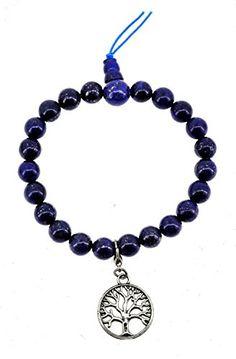 Simulated Lapis Lazuli Mala Prayer Beads Bracelet * Click image for more details.