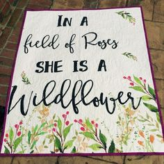 Wildflower nursery bohemian blanket baby girl by TinRoofQuilters