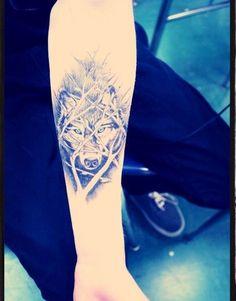 Cute Wolf Tattoo Design On Sleeves