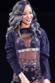 rihanna grey hair concert - Google Search