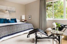 wall color: Hazy Skies by Benjamin Moore Aura -  bedroom by Cheryl Burke Interior Design