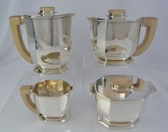 Tetard Freres Sterling Silver Art Deco Tea Set 4pc Paris France C 1925 | eBay