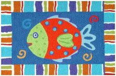 Bright and Colorful Smiling Fish Rug $34.99