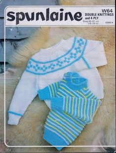 PDF Digital Baby Child s Knitting Pattern Spunlaine W64 n Double Knitting and 4 ply Chest 18-24