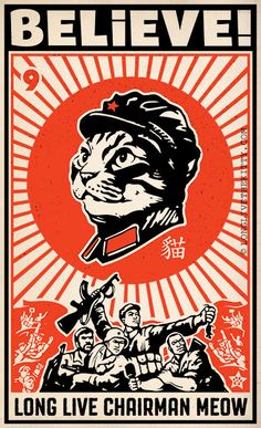 Glorious tribute to leader Chairman Meow and his leadership in the War on Vermin. (I know it sounds like a cat poster, but it's true) cat propaganda li Graphic Design Posters, Graphic Design Typography, Graphic Design Illustration, Illustration Art, Illustrations, Japanese Graphic Design, Japanese Art, Cat Posters, Boxing Posters
