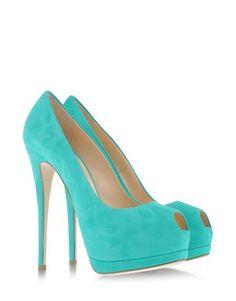chaussures pour femme a talon couleur bleu/vert