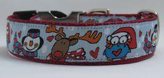 Christmas Fun on Red 1 adjustable dog collar by WagSwagPetSupplies