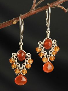 Carnelian drop earrings. Great use of chain -center bead design