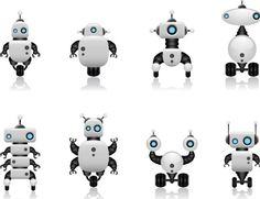 Free Cute Intelligent Robot Vector Design Materials 02 » TitanUI