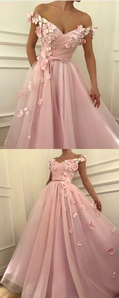 Pretty pink tulle long prom dresses v-neck off the shoulder evening gowns with flowers beaded  by prom dresses, $173.00 USD