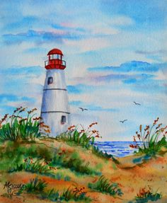 Watercolor of White Lighthouse on Beach Coast by MarthaKislingArt