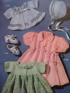 1950's 5 Vintage Crochet and Knitting Patterns Baby Sweaters, Booties, Bonnet, Dresses lovely going home outfit ideas.