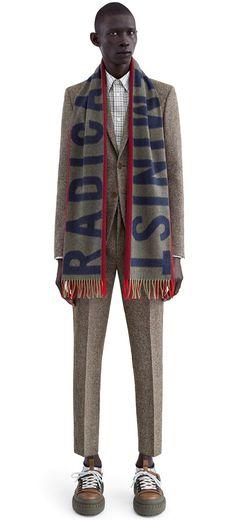Radical Feminist football inspired scarf #AcneStudios #PF15 Swedish Fashion, Love Fashion, Mens Fashion, Acne Scarf, Boys Don't Cry, What Should I Wear, Autumn Street Style, Football, Well Dressed Men