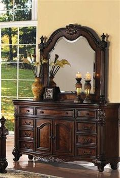 Remington Traditional Brown Cherry Wood Glass Dresser And Mirror