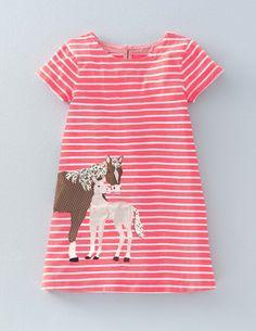Stripy Appliqué Jersey Dress 33421 Day Dresses at Boden